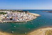 Ferragudo, Algarve, Portugal. Aerial Wide Drone View poster