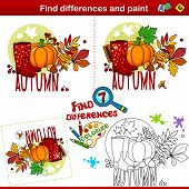 Set For Children And Schoolchildren. Find The Difference In The Picture And Color It. Autumn Picture poster