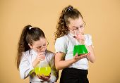Science Research In Lab. Knowledge And Education. Little Smart Girls With Testing Flask. Back To Sch poster