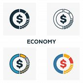 Economy Icon Set. Four Elements In Diferent Styles From Business Management Icons Collection. Creati poster