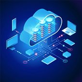 Cloud Computing.  Online Devices Upload, Download Information. Data In Database On Cloud Services. I poster