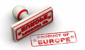 Product Of Europe. Seal And Imprint. Red Seal And Red Print Product Of Europe On White Surface. Isol poster