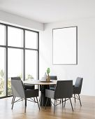 Minimalistic White Dining Room Corner With Poster poster