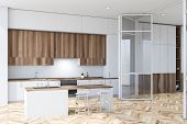White Kitchen With Bar And Doors poster