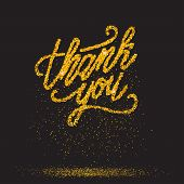 Thank You Inscription. Hand Lettering. Simple Thank You Calligtaphy Card With Golden Particles. Vect poster