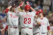 LOS ANGELES - AUG 31: Phillies catcher (23) Brian Schneider (mid) celebrates with teammates after sc