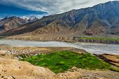 View of Spiti valley, village and Spiti river in Himalayas. Spiti valley, Himachal Pradesh, India poster