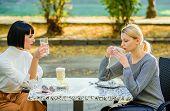 Friendship Sisters. Friendship Meeting. Female Leisure. Girls Friends Drink Coffee Talk. Conversatio poster