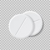 3d Realistic White Medical Pill Or Tablet On Isolated Background. Two Medical Round Pill In Mockup S poster