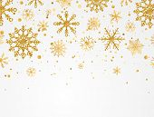 Gold Snowflakes Falling On White Background. Golden Snowflakes Border With Different Ornaments. Luxu poster