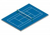 Tennis Court - Hard Surface - Isometric View