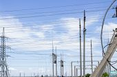Power Tower. High Voltage Lines And Power Pylons. City Power Substation, Close-up, Transformer With  poster