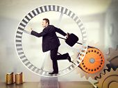 foto of hamster  - businessman run on 3d hamster wheel - JPG
