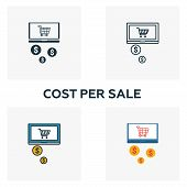 Cost Per Sale Icon Set. Four Elements In Diferent Styles From Content Icons Collection. Creative Cos poster
