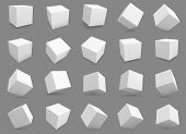 3d Cubes. White Blocks With Different Lighting And Shadows, Boxes In Perspective. Abstract Geometric poster