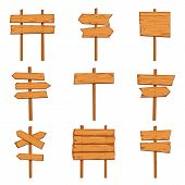 Cartoon Wooden Arrows. Blank Wood Signboards And Arrow Signs. Isolated Road Direction Signpost Vecto poster