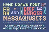 Hand-drawn Alphabet And Font. Bold, Regular And Medium Uppercase Letters, Alternative Characters. Ha poster