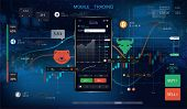 Mobile Stock Trading With Candlestick And Financial Graph Charts On Screen. Futuristic Background Wi poster