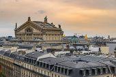Paris France Aerial View City Skyline At Paris Opera poster