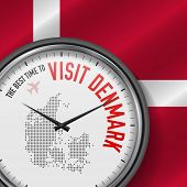 The Best Time To Visit Denmark. Travel To Denmark. Tourist Air Flight. Waving Flag Background And Do poster