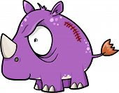 Crazy Insane Rhinoceros Animal Safari Vector Illustration