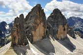 Alpine dolomiti view of Tre Cime mountain