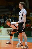 KAPOSVAR, HUNGARY - FEBRUARY 1: Bence Bozoki (2) in action at a Middle European League volleyball ga