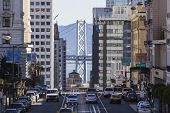 SAN FRANCISCO, CALIFORNIA - JAN 14: View of California Street tourist area. San Francisco's 80% hote