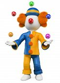 picture of circus clown  - 3d white person clown juggling five balls - JPG