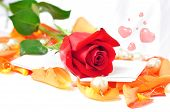 Romantic Scenery - Red Rose On Orange Petals With Hearts And Pearls