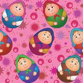 Seamless, dolls and abstract pattern