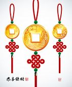 Chinese Copper Coins with Ru Yi Stitch. Translation: Prosperity