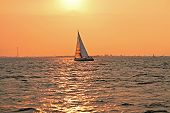 Sailing at sunset on the IJsselmeer in the Netherlands