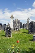 Ancient Celtic Graveyard With Flowers