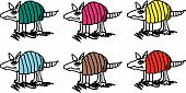 picture of armadillo  - Colorful Texas armadillos in abstract cartoon form - JPG