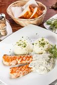 image of pangasius  - Pangasius fillet steak with rice and dill sauce - JPG