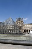 PARIS - APRIL 13: Glass Pyramid at Louvre Museum on April 13, 2008 in Paris, France. Louvre is one of the world's largest museums. Architect I.M.Pei is author of glass pyramid over new entrance in the main court