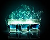 image of absinthe  - Image of three glasses of burning emerald absinthe - JPG