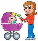 Baby carriage theme image 1 - vector illustration.
