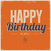 Happy birthday card with retro typography
