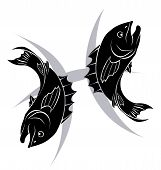 picture of pisces horoscope icon  - Illustration of Pisces the fish zodiac horoscope astrology sign - JPG