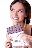 woman with big chocolate bar in her hands