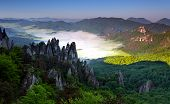 Beautiful Summer Landscape With Inversion And Cliff