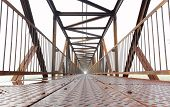 image of skyway bridge  - Old Steel bridge for  people over railroad - JPG