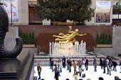 Rockefeller Center New York City Skaters  And Prometheus
