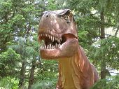 Detailed Tyrannosaurus Rex Dinosaur in A forest Setting In Oregon.