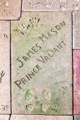 Handprints Of James Mason In Hollywood Boulevard In The Concrete Of Chinese Theatre's Forecourt