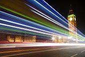 Big Ben With Blurred Lights At Dusk, London