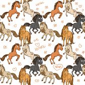 Seamless pattern of cute horses frolicking in freedom