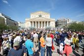 MOSCOW - MAY 9: People near Bolshoi theater, on May 9, 2013 in Moscow, Russia. Every year on square